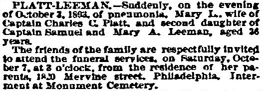 Mary Leeman Platt's 1893 Obituary